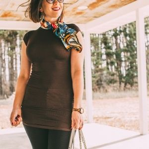 Tops - Brown Round Neck Fitted Tee